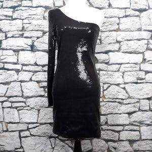 ALYTHEA One Shoulder Mini Black Sequins Dress Smal